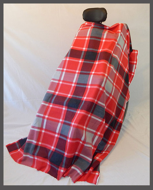 Gray & Red Plaid- Fleece Wheelchair Poncho (sz Small)