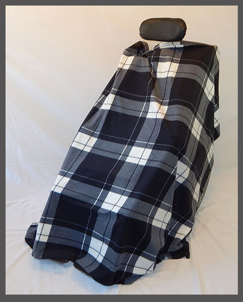 Black & White Plaid- Fleece Wheelchair Poncho (sz Small)