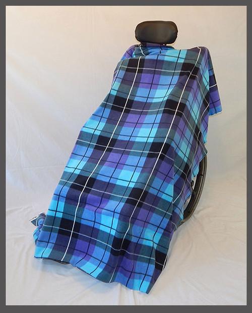 Aqua & Purple Plaid- Fleece Wheelchair Poncho (sz Small)