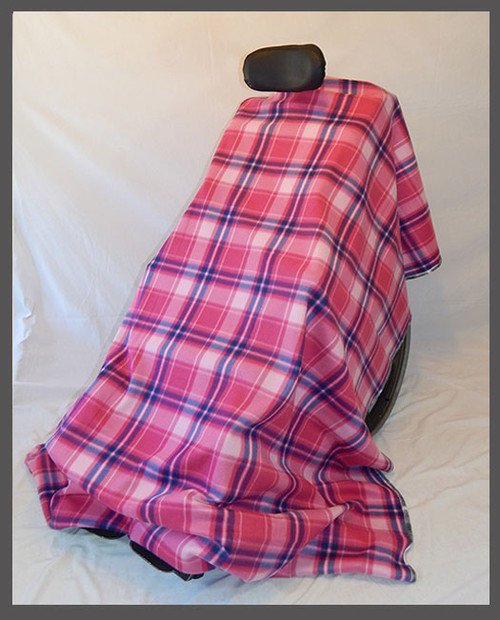 Pink & Navy Plaid- Fleece Wheelchair Poncho