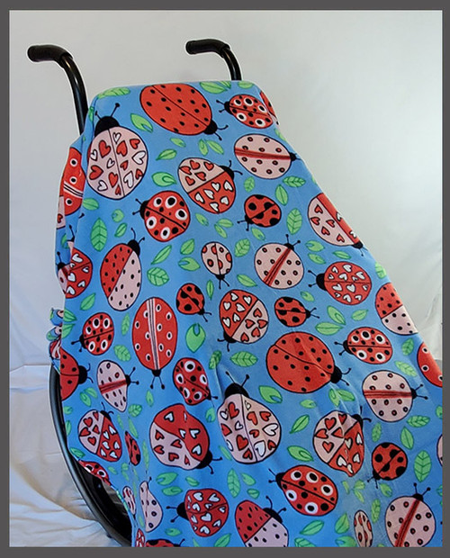 Ladybugs on Blue- Fleece Wheelchair Poncho