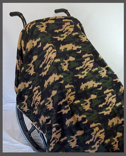 Camo Green & Tan- Fleece Wheelchair Poncho