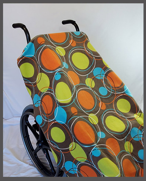 Circles on Brown- Fleece Wheelchair Poncho (sz Small)