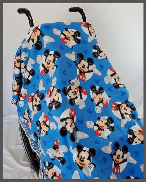 Mickey in White Circles on Blue- Fleece Wheelchair Poncho