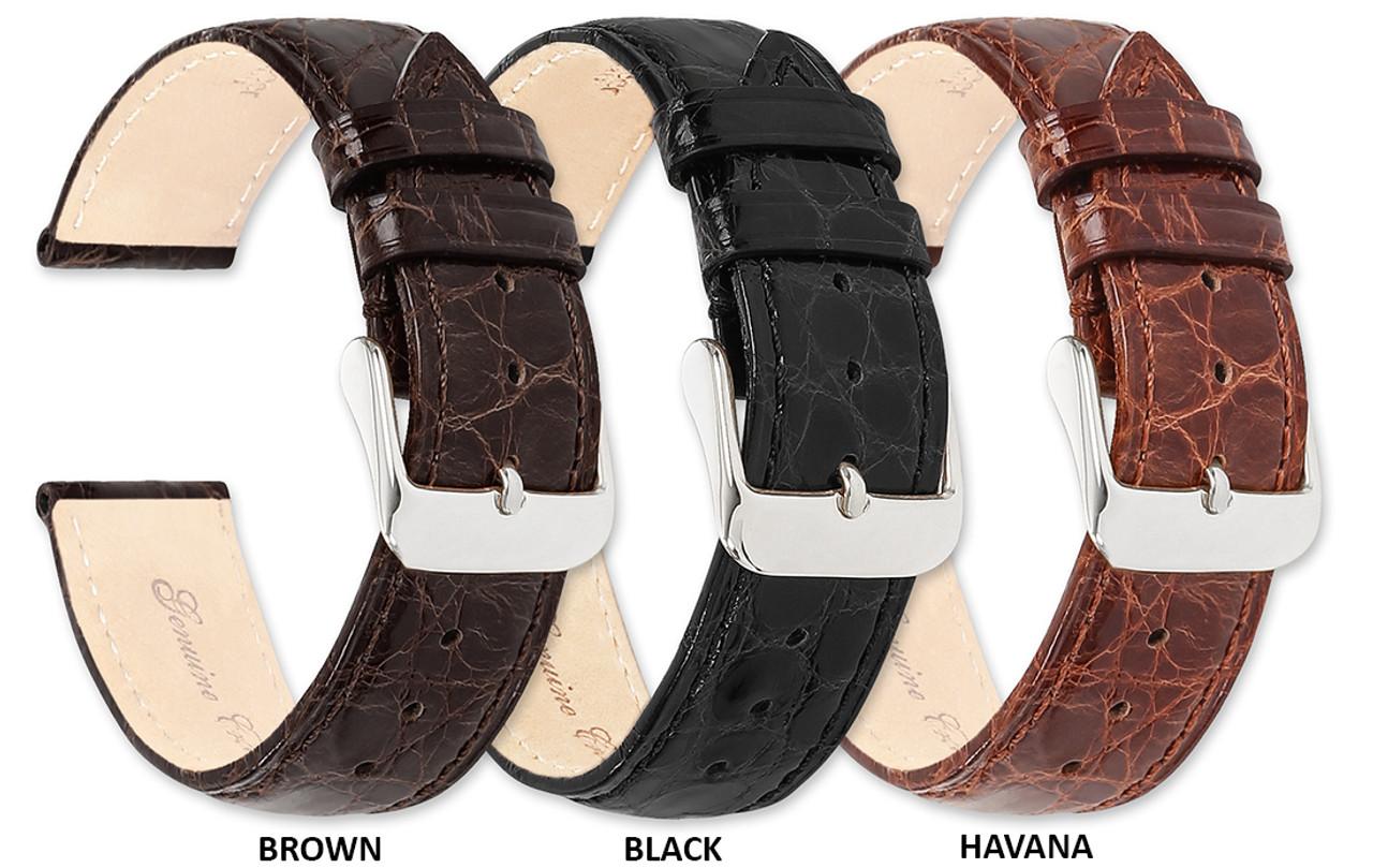 Biżuteria i Zegarki Genuine Crocodile Padded BLACK Strap 12mm or 14mm
