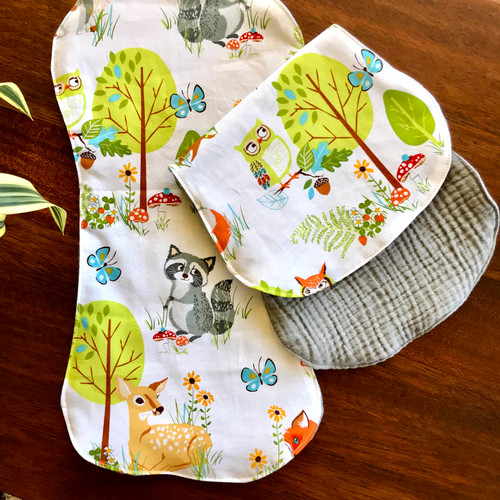 Vintage animal print, squirrels, racoon, dear, trees and bunnies too