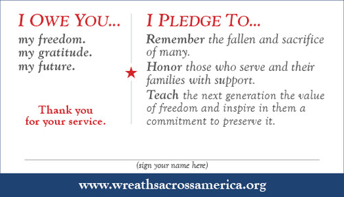 New Item Service I Owe You Cards 100 Wreaths Across America