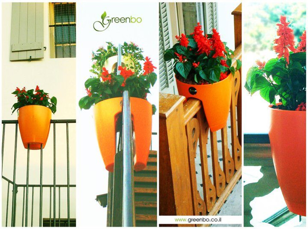 Orange greenbo railing planter