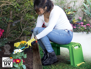 Gardening Kneeler and a seat with a special foam to keep the blood stream while working. Also its waterproof so if got wet you can just wipe it and use it.