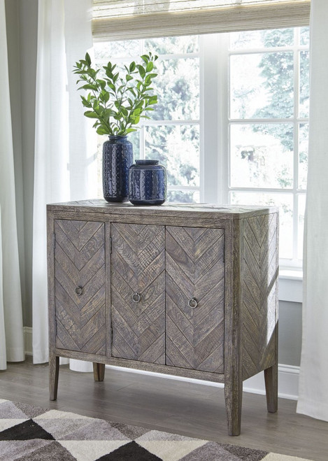 Ashley Rustic Grey Accent Cabinet