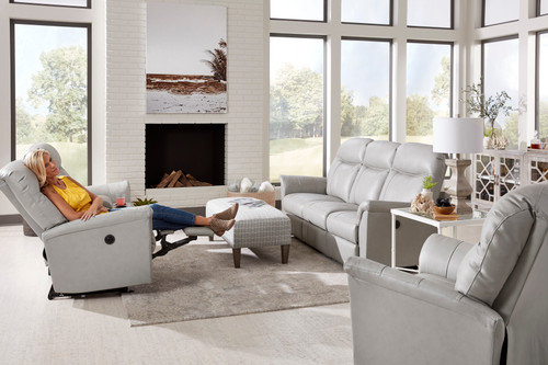Caitlin Leather Reclining Loveseat with Console