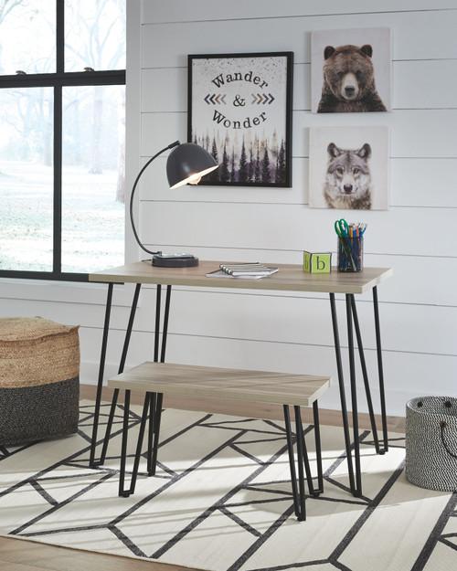 Blariden Brown/Black Desk w/Bench
