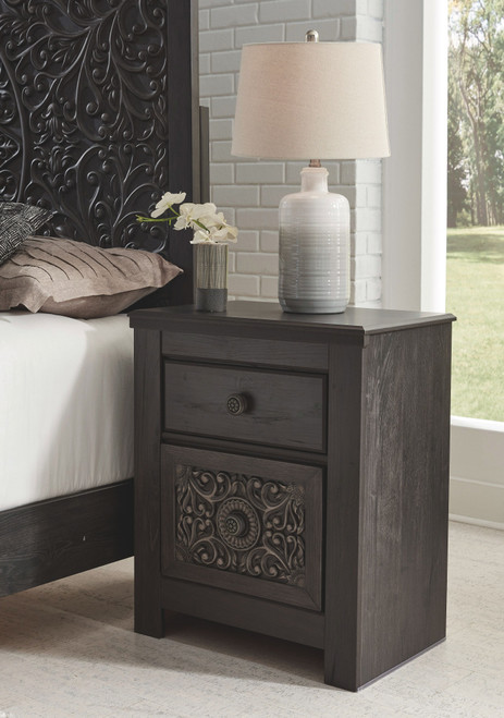 Paxberry Black Two Drawer Night Stand
