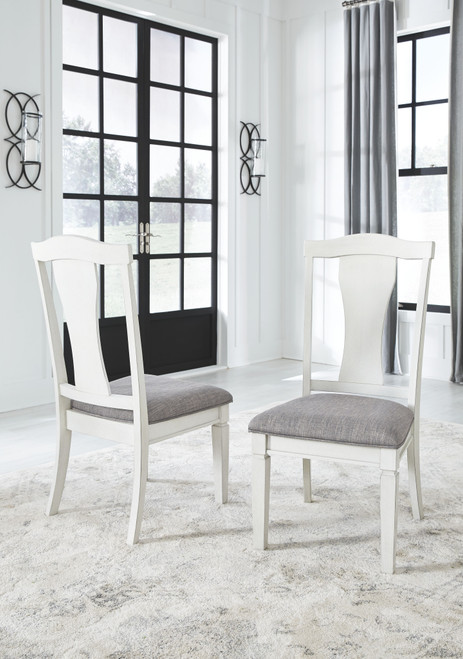 Nashbryn Antique White Dining Upholstered Side Chair (Set of 2)