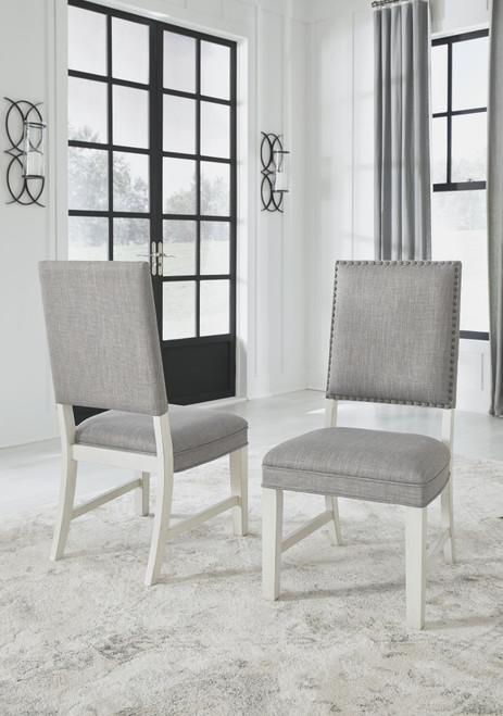 Nashbryn Gray/White Dining Upholstered Side Chair (Set of 2)