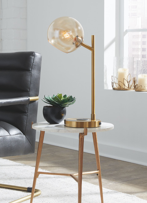 Abanson Amber/Gold Finish Metal Desk Lamp (1/CN)