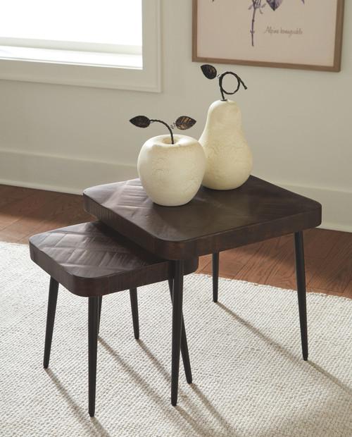 Ravenwood Brown/Black Accent Table Set (2/CN)