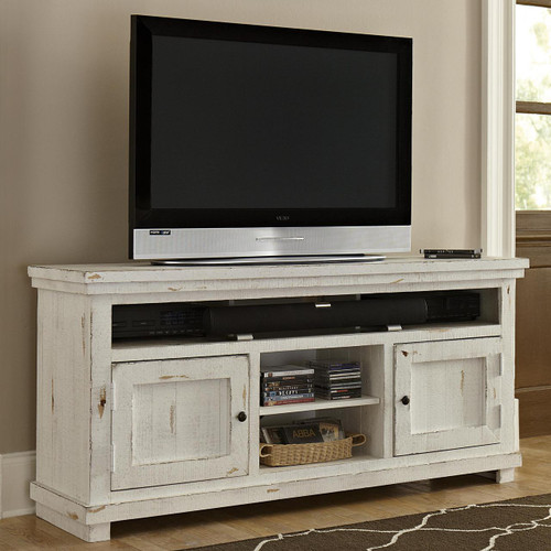 "Willow 64"" TV Stand: Distressed White"
