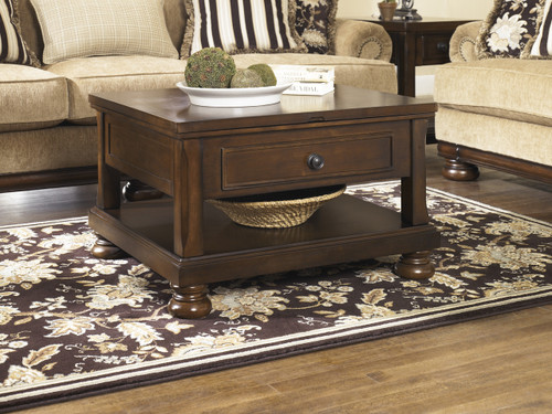 Porter Lift Top Cocktail Table: Rustic Brown