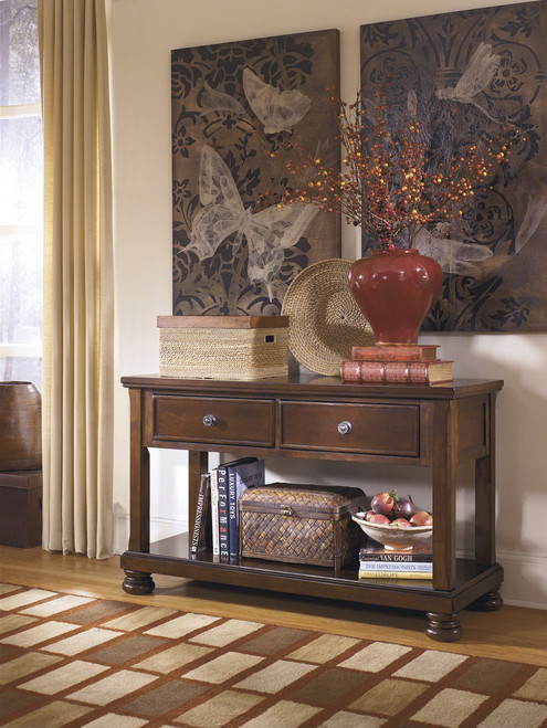 Porter Console Sofa Table: Rustic Brown