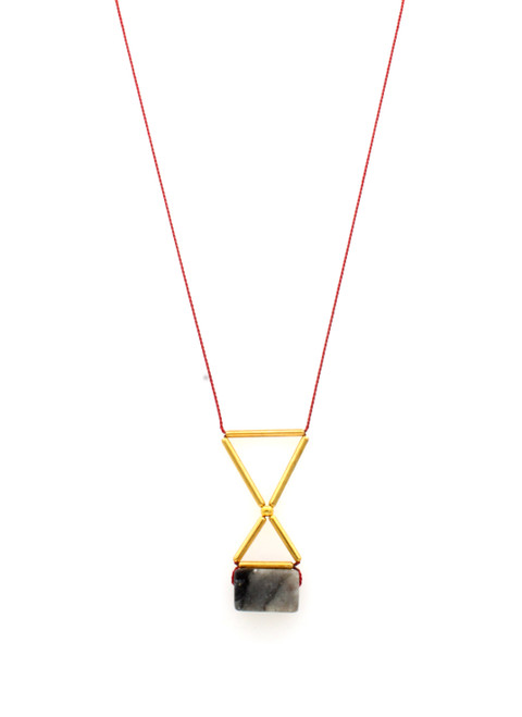GREY JASPER WITH GOLD-PLATED BRASS NECKLACE ON RED SILK