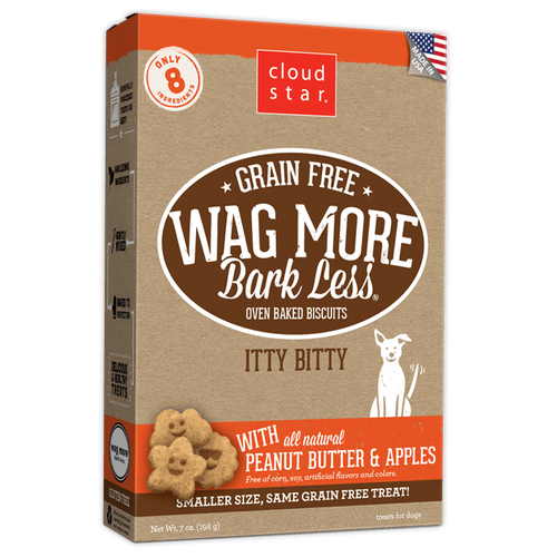 Wag More, Bark Less GF Baked Itty Bitty Peanut Butter & Apple 7oz
