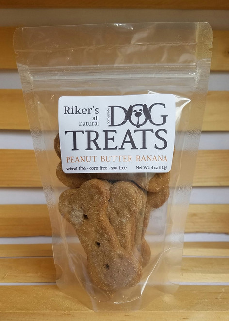 Riker's Dog Treats - Peanut Butter Banana - 4oz Bones
