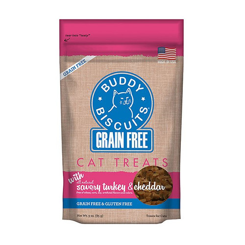 Buddy Biscuits Grain Free with Savory Turkey & Cheddar Cat Treats 3oz