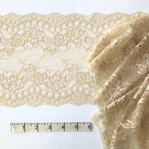 Sand Floral 15 cm Stretch Lace