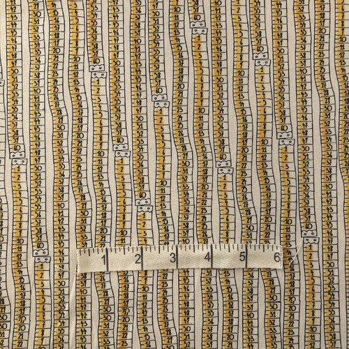 Yellow Tape Measure Cotton Print Fabric