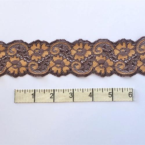 Brandy/Copper Flower Swirl Stretch Lace