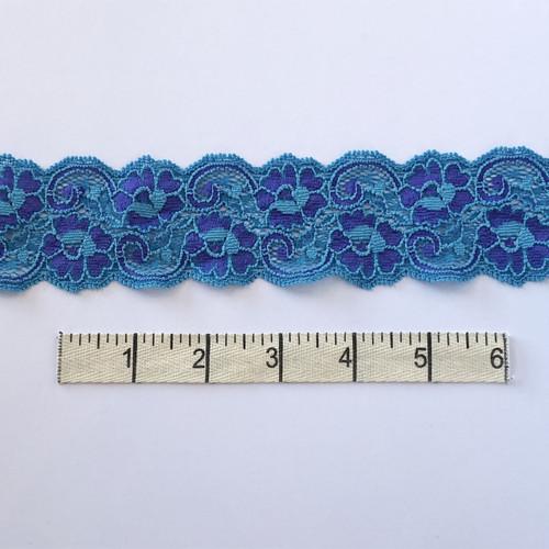 Neptune/Violet Flower Swirl Stretch Lace