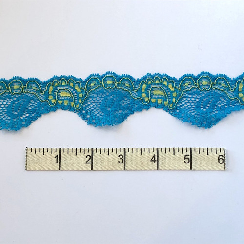 Neptune/Olive Paisley Stretch Lace