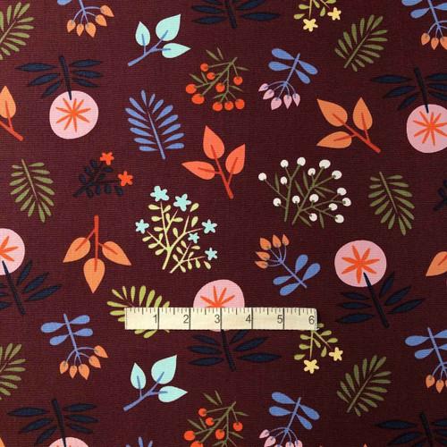 Bordeaux Floral Cotton Canvas Fabric