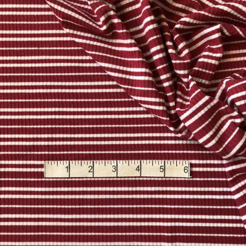 Raspberry/White Skinny Rib Jersey Fabric