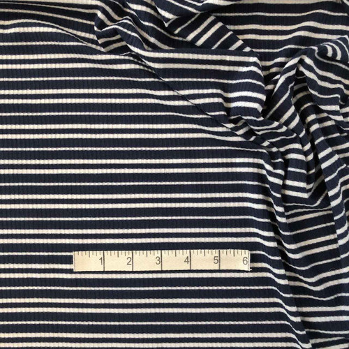 Navy/White Skinny Rib Jersey Fabric