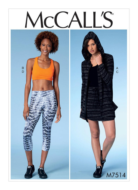 McCalls 7514 Misses' Jacket, Sports Bra, Skirt & Leggings Sewing Pattern