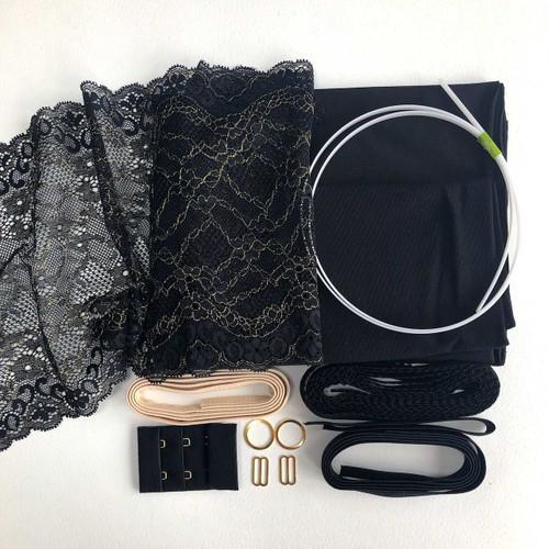 Black/Gold Floral Strapless Bra 8437 Kit