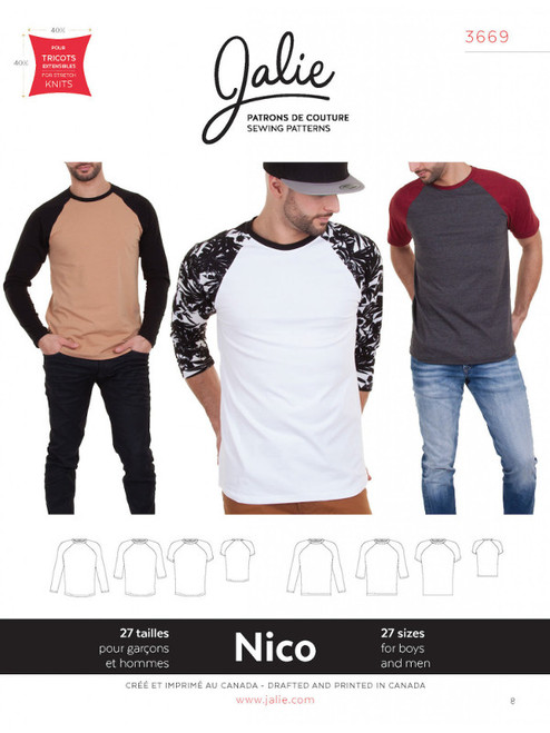 Jalie 3669 Men's Nico Top Sewing Pattern