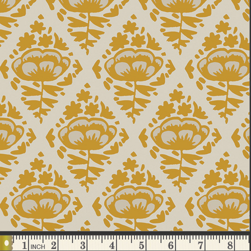 Mustard Floral Pops Cotton Print Fabric