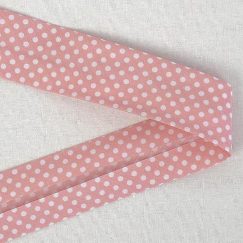 Rose Pink Spot 30mm Bias Binding
