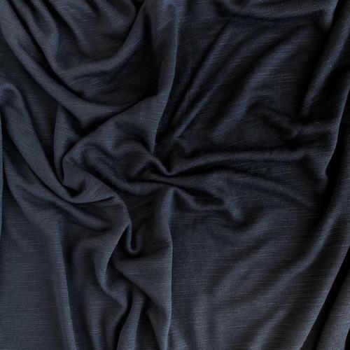 Smoke Grey Slub Polyester Mix Jersey Fabric