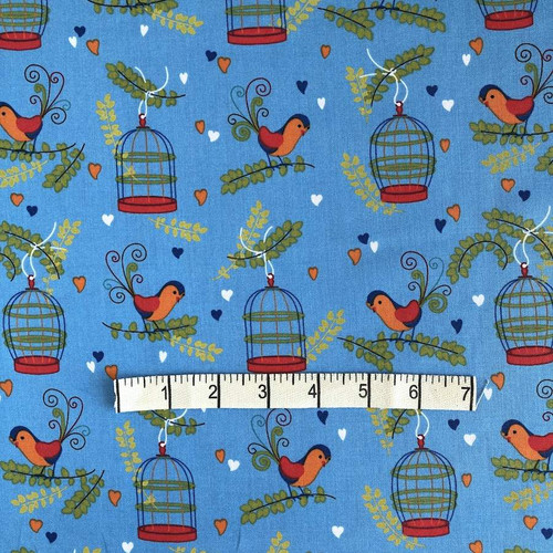 Blue Birdcage Cotton Print Fabric