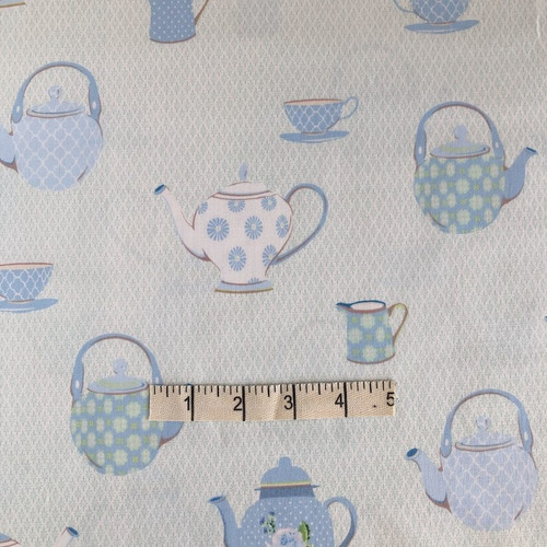 Blue Teapots Cotton Print Fabric