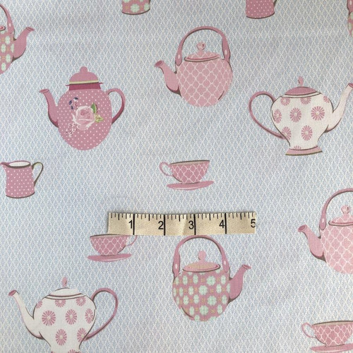 Pink Teapots Cotton Print Fabric