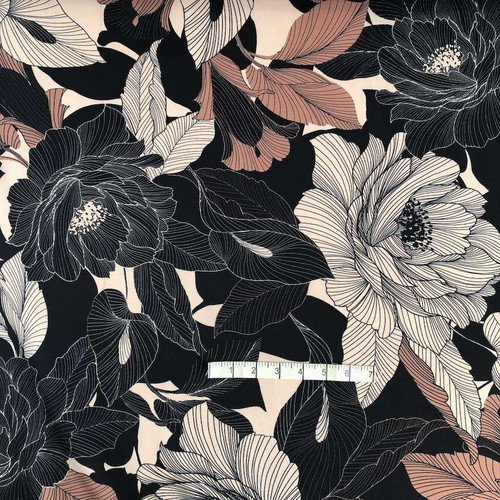 Autumn Flowers Print Polyester Fabric