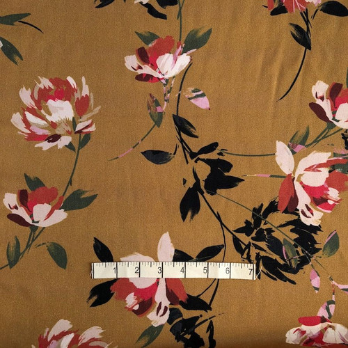 Gold Abstract Flowers Print Viscose Fabric