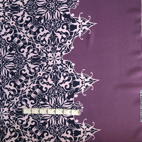 Lilac Border Print Polyester Fabric