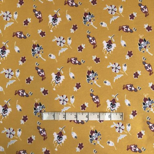 Mustard Floral Sweatshirt Fabric