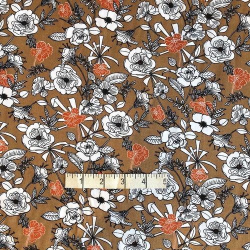 Coffee Flower Viscose Print Fabric